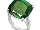 טבעת זהב אופנתית עם אבן צבעונית גדולה
