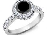 טבעת להצעת נישואין יהלום מרכזי שחור סביבו יהלומים