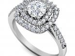 טבעת יהלומים 2 שורות עם רווח יהלום מרכזי חצי קרט