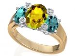טבעת מעוצבת אבן חן ספיר רובי או ברקת אמרלד אובל מרכזי
