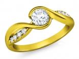 טבעת אירוסין מסובבת חצי קרט יהלום