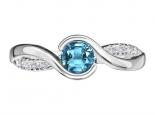 טבעת אבן חן בהירה בעיצוב טוויסט