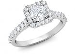 טבעת יהלומים מרובעת יהלום מרכזי רבע קארט