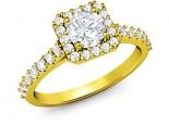 טבעת יהלומים מרובעת 30 נקודות יהלום מרכזי