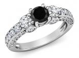 טבעת טריפל משובצת מבפנים ומבחוץ יהלום שחור