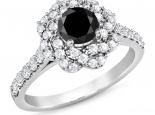 טבעת יהלומים בצורת פרח יהלום שחור מרכזי