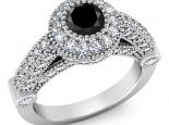 טבעת יהלומים בעיצוב מיוחד יהלום שחור מרכזי חצי קרט