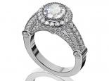 טבעת יהלומים בעיצוב מיוחד יהלום מרכזי 1קרט