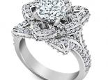 טבעת פרח ליהלום חצי קארט