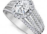 טבעת יהלומים יוקרתית עם יהלום מרכזי אובל