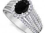 טבעת יהלומים יוקרתית עם יהלום שחור מרכזי אובל