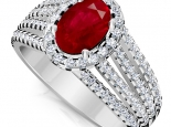 טבעת יהלומים יוקרתית עם אבן חן רובי