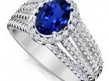 טבעת יהלומים יוקרתית עם אבן חן ספיר