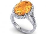 טבעת זהב אופנתית ומיוחדת אבן חן גדולה מאוד אובל