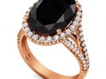 טבעת זהב אופנתית ומיוחדת יהלום שחור אובל גדול
