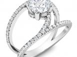 טבעת יהלום מיוחדת טבעת קשתות יהלומים קארט יהלום מרכזי