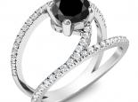 טבעת יהלום מיוחדת בעיצוב קשתות - 1 קארט יהלום שחור
