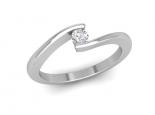טבעת זהב מקבילים משובצת יהלום מרחף רבע קרט