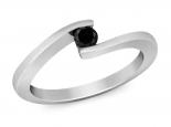 טבעת זהב מקבילים משובצת יהלום מרחף יהלום שחור חצי קרט