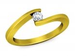 טבעת זהב מקבילים משובצת יהלום מרחף