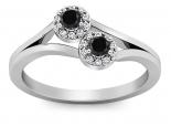 טבעת עדינה זהב ויהלומים שחורים