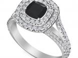 טבעת 2 שורות יהלומים יהלום שחור מרכזי