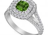 טבעת 2 שורות יהלומים אבן חן אמרלד ספיר רובי