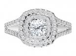 טבעת יהלומים לאישה בעיצוב הולו- 3/4 קראט מרכזית