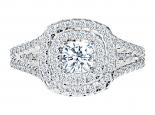 טבעת הולו לאישה- 0.50 קראט מרכזית