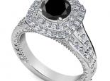טבעת יהלומים יוקרתית  יהלום מרכזי שחור 1 קרט