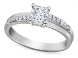 טבעת אירוסין בעיצוב מיוחד 25נקודות רבע קרט יהלום מרכזי