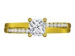 טבעת אירוסין בעיצוב מיוחד 15 לקרט יהלום מרכזי