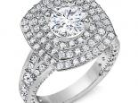 טבעת 3 שורות יהלומים סביב ליהלום מרכזי