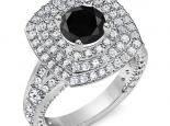 טבעת 3 שורות יהלומים סביב ליהלום  שחור מרכזי