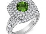 טבעת 3 שורות יהלומים סביב אבן חן אמרלד ברקת ספיר רובי