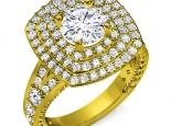 טבעת 3 שורות יהלומים סביב ליהלום מרכזי- 0.30 נקודות