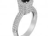 טבעת אירוסין בעיצוב גביע משובץ יהלום שחור