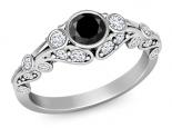 טבעת אירוסין וינטג יהלום שחור חצי קרט