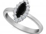 טבעת דיאנה יהלום שחור מרקיזה עיצוב עדין ונקי