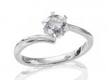 טבעת אירוסין סוליטר 6 שיניים טוויסט למראה יהלום גדול
