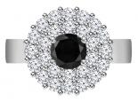 טבעת יהלומים מפוארת וגדולה חצי קארט יהלום שחור
