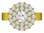 טבעת יהלומים מפוארת וגדולה 1 קארט יהלום מרכזי