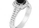 טבעת יהלום שחור בעיצוב מיוחד 1 קארט מרכזית טבעת אירוסין יהלום