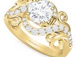טבעת יהלומים בעיצוב מיוחד 3/4 קארט יהלום מרכזי