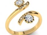 טבעת מעוצבת פרחים מקבילים