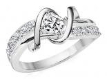 טבעת יהלומים בעיצוב טוויסט- 0.30 נקודות מרכזית