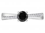 טבעת אירוסין בסיבוב עדין יהלום שחור מרכזי 1 קארט