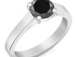 טבעת יהלום סוליטר קלסית יהלום שחור 1 קארט