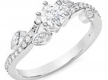 טבעת אירוסין עדינה בעיצוב עלים 6 שיניים