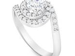 טבעת זהב בעיצוב הולו וטוויסט משולב יהלום 1 קארט